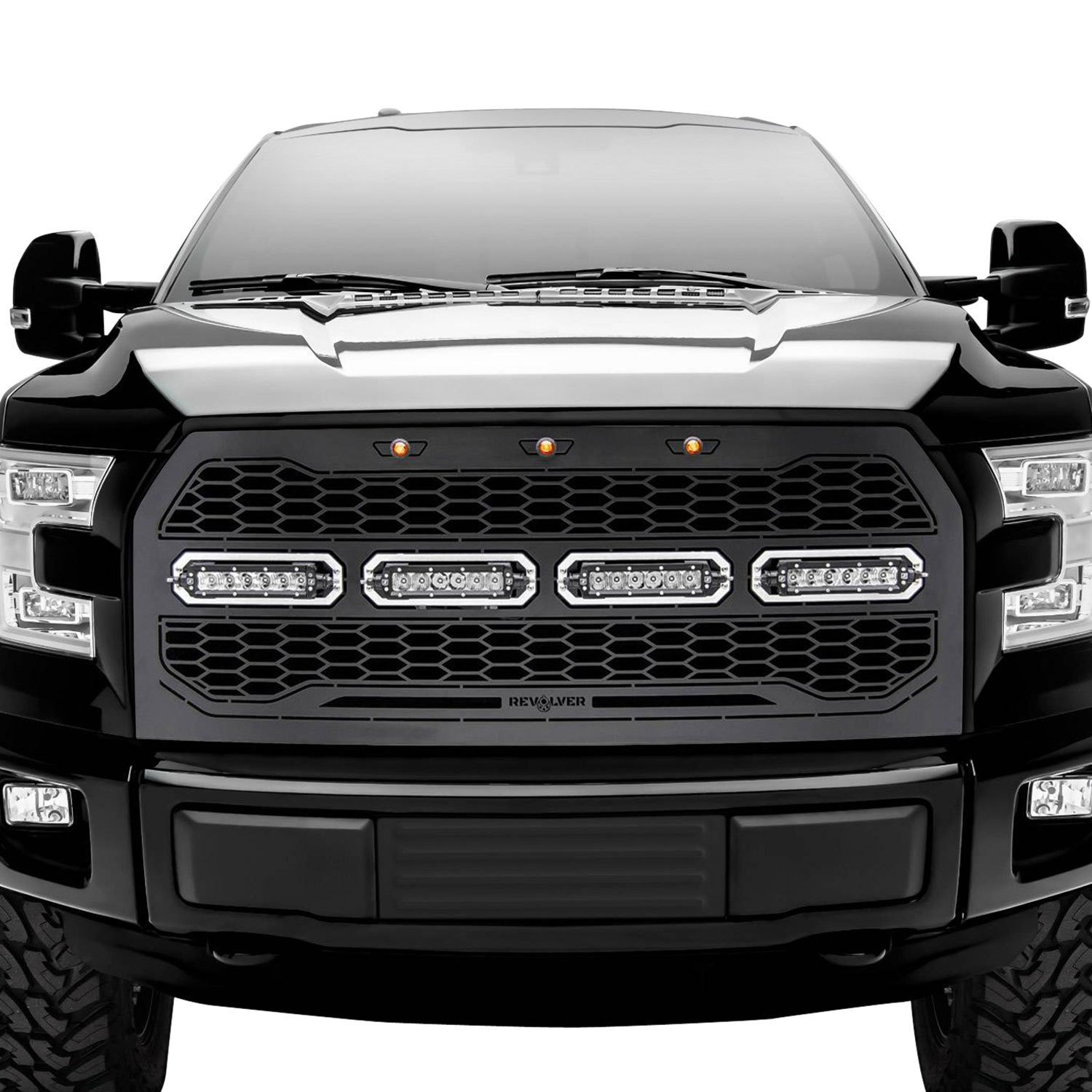 T-Rex® - Ford F-150 2015-2016 1-Pc Revolver Series Raptor-Style Black CNC Machined Grille with 4 ...