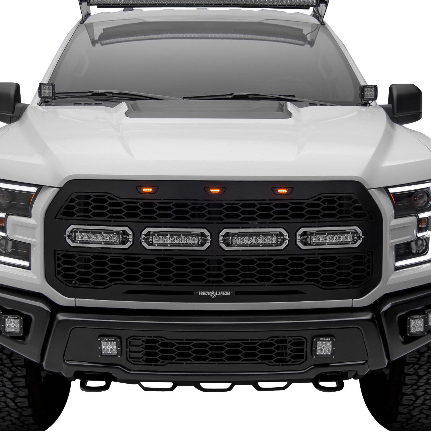 T-Rex® 6525661 - 1-Pc Revolver Series Black CNC Machined Bumper Grille with 2 x 3