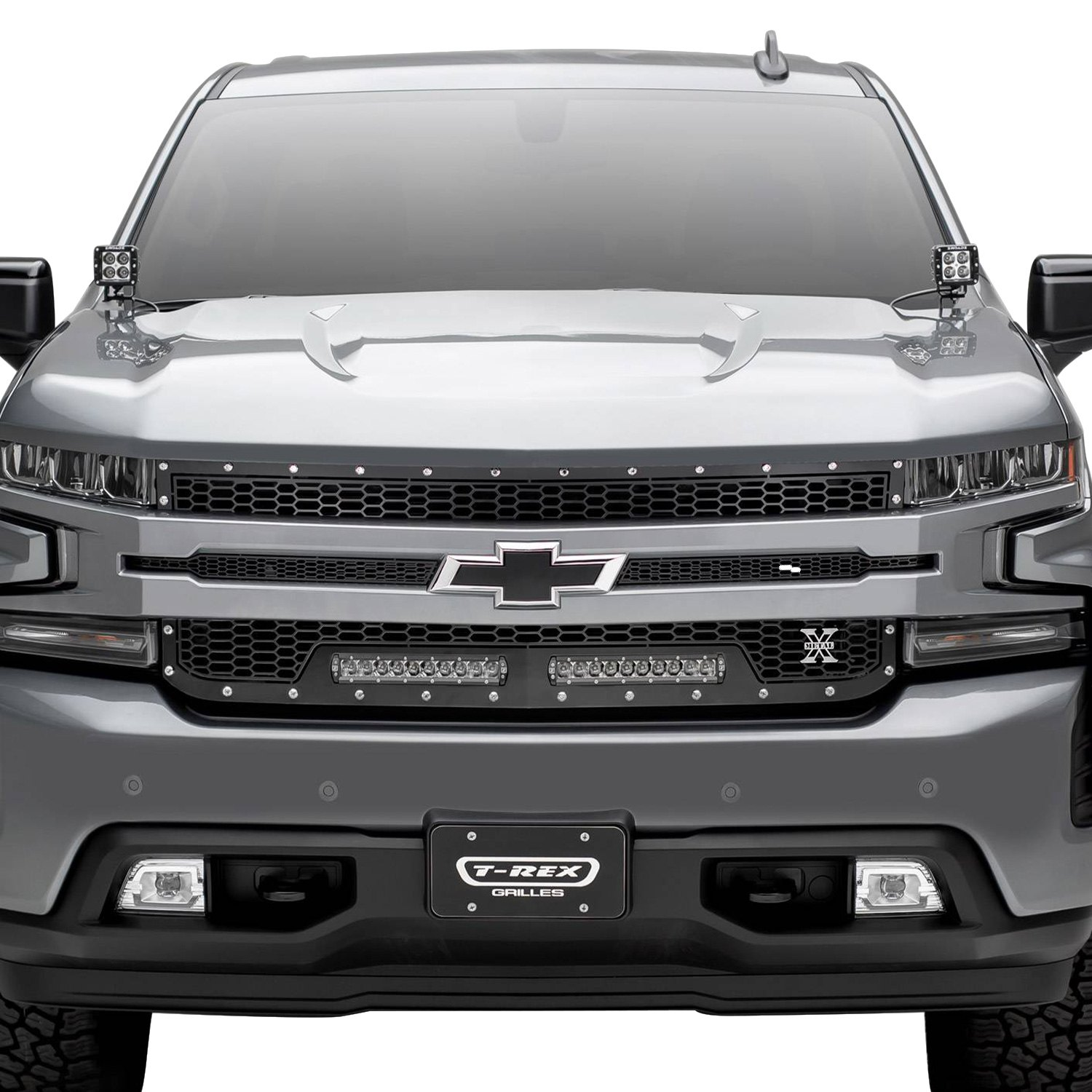 T Rex 1 Pc Laser Torch Series Black Honeycomb Main Grille With 2 X 10 Led Light Bars