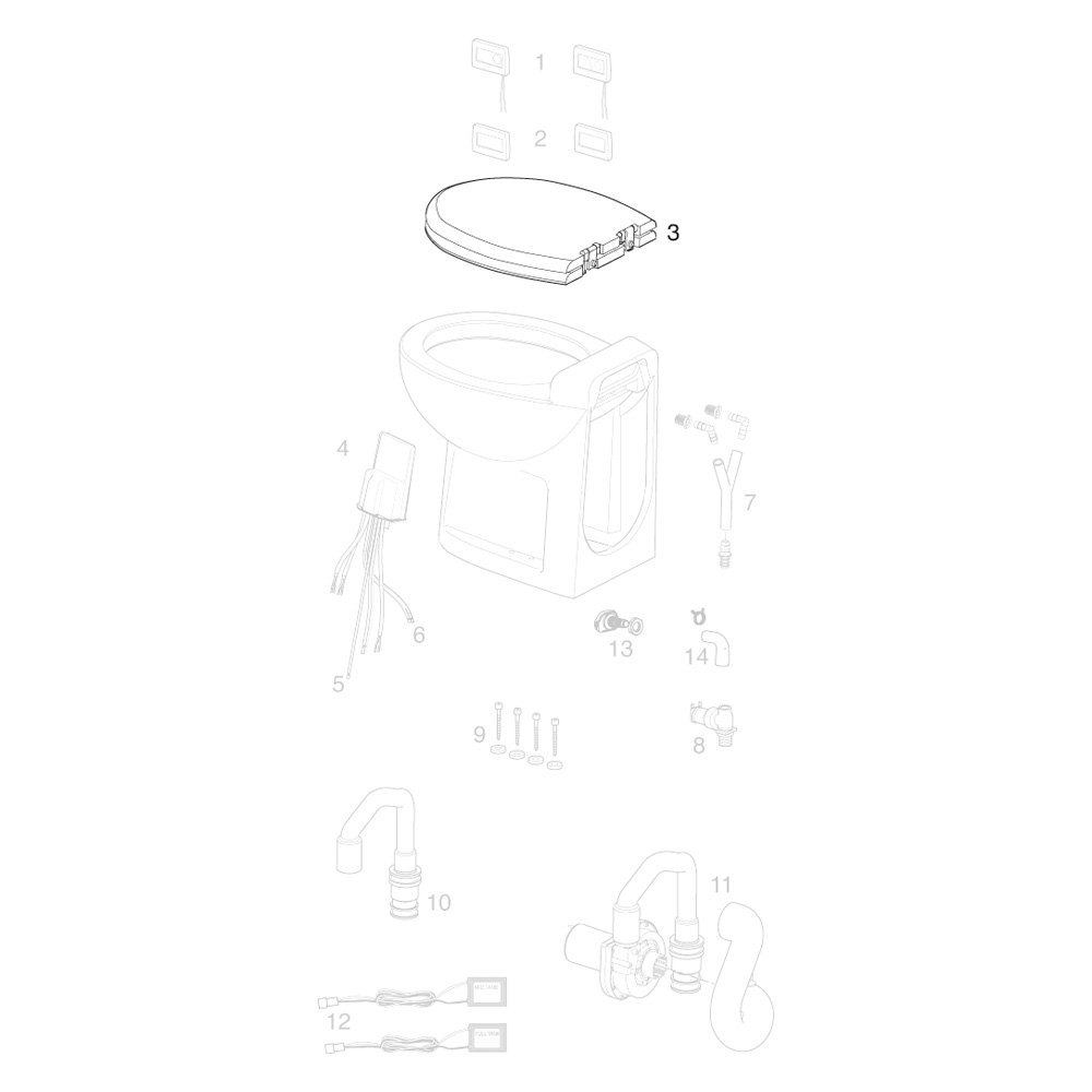 Thetford 36503 Tecma Silence Plus Bone Chrome Hinges Seat