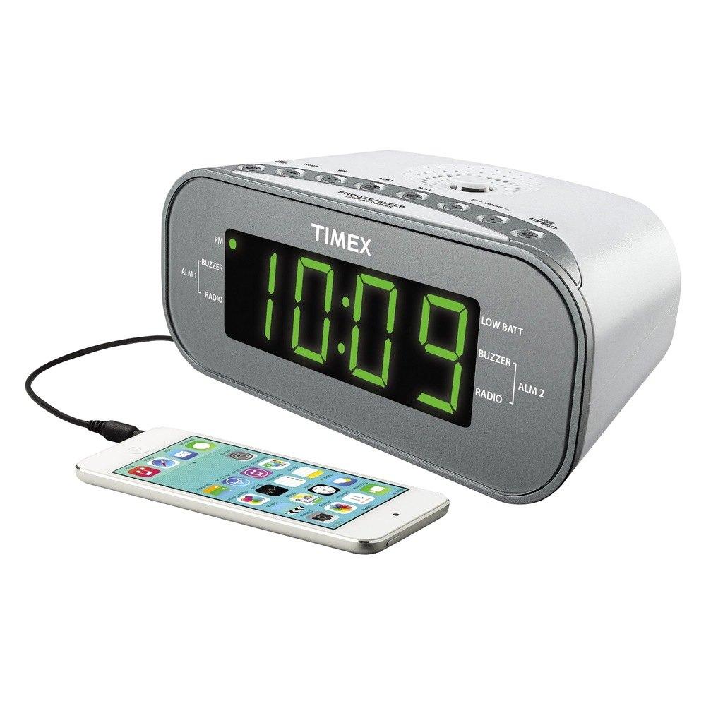 timex audio dualalarm clock radio white ebay. Black Bedroom Furniture Sets. Home Design Ideas