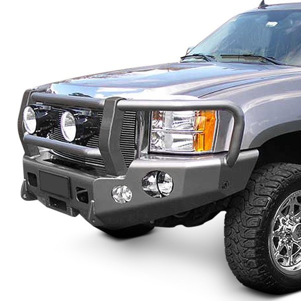 trailready gmc sierra 2014 full width black front winch hd bumper with grille guard. Black Bedroom Furniture Sets. Home Design Ideas