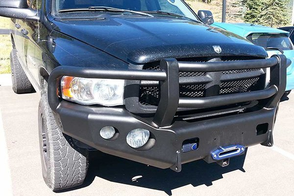 trailready dodge ram 2500 3500 2003 full width black front hd bumper with full grille guard. Black Bedroom Furniture Sets. Home Design Ideas
