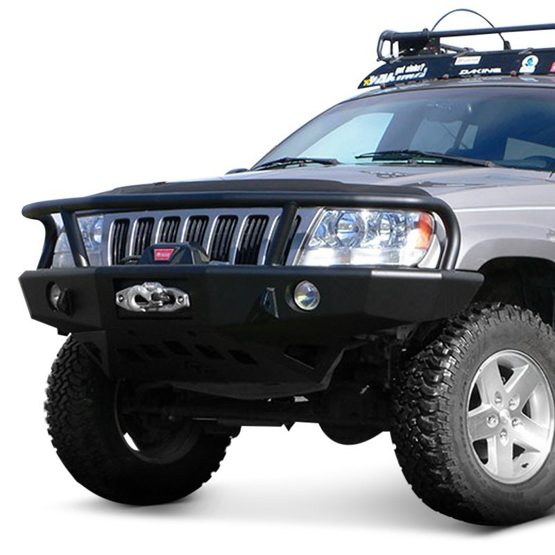 Trailready Jeep Grand Cherokee 2002 Full Width Black Front Winch Hd Bumper With Grille Guard