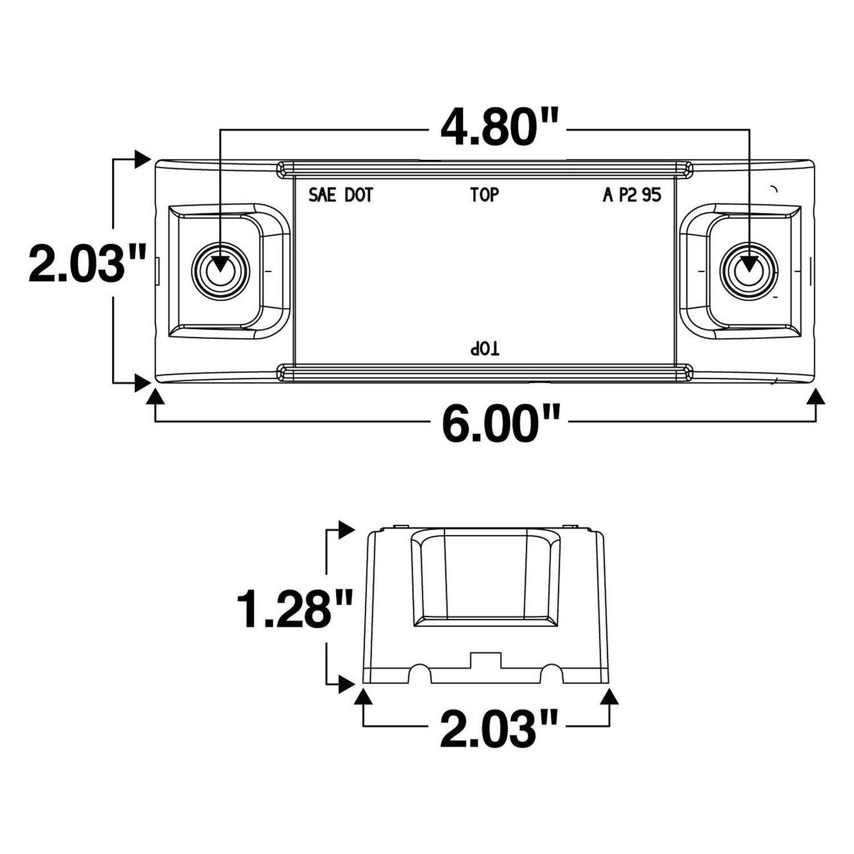 Truck Lite 21880y 21 Series Rectangular Reflectorized