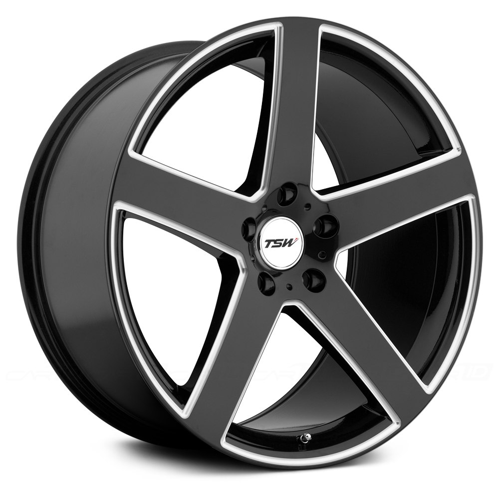 Tsw 174 Rivage Wheels Gloss Black With Milled Spokes Rims