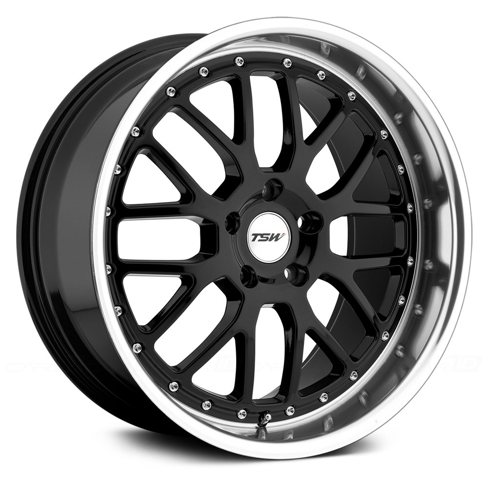 Tsw 174 Valencia Wheels Gloss Black With Mirror Cut Lip Rims