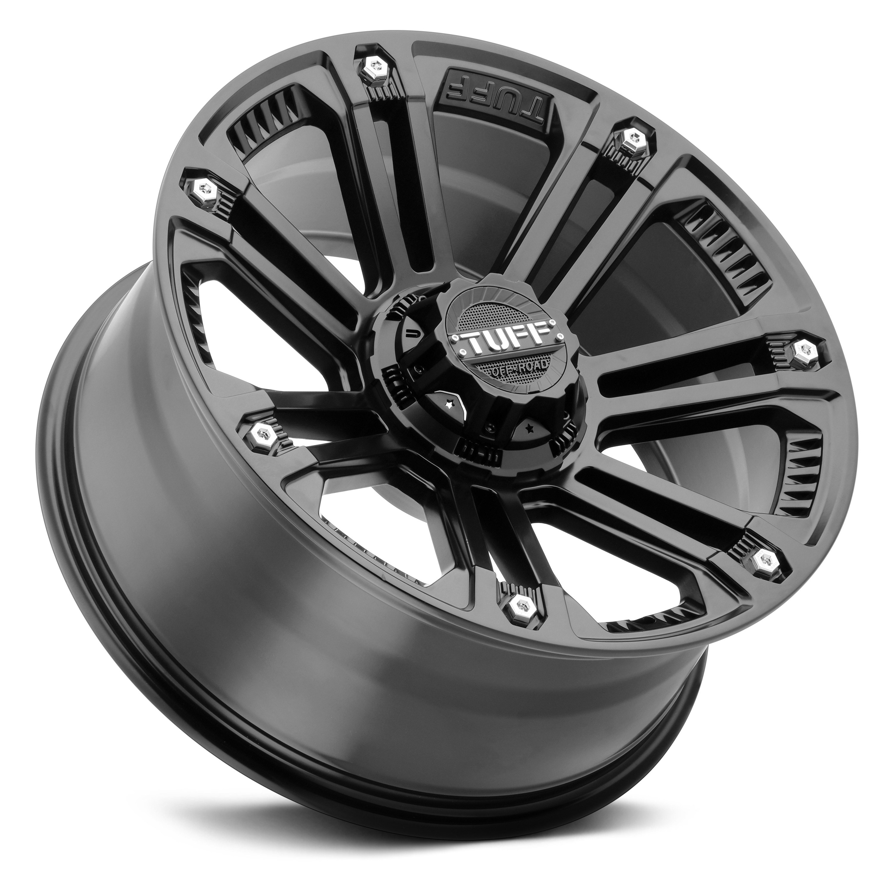 Tuff 174 T22 Wheels Matte Black With Stainless Steel Bolts Rims