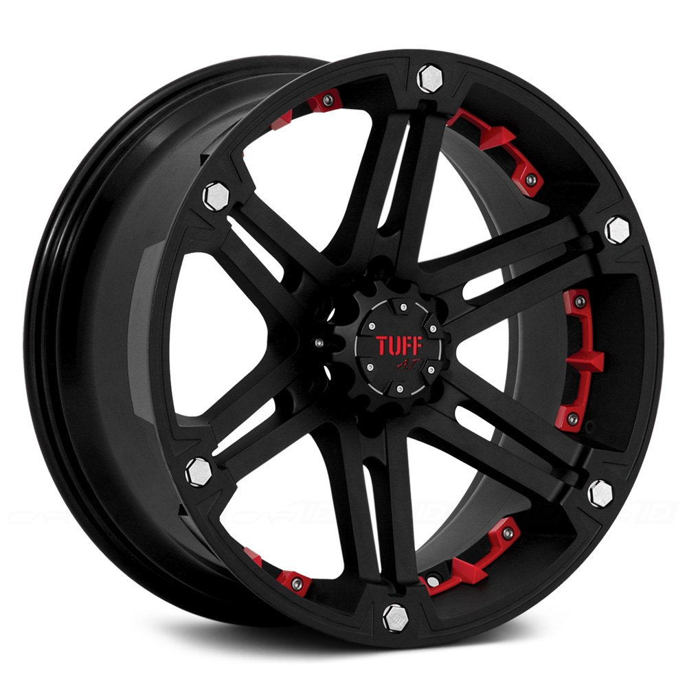 Tuff 174 T01 Wheels Flat Black With Red Inserts Rims