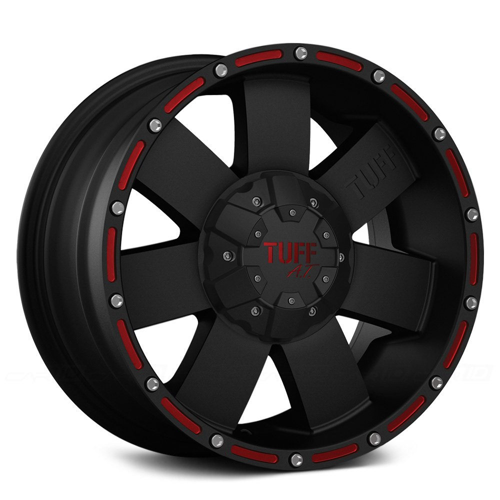 tuff t02 wheels flat black with red accents rims. Black Bedroom Furniture Sets. Home Design Ideas