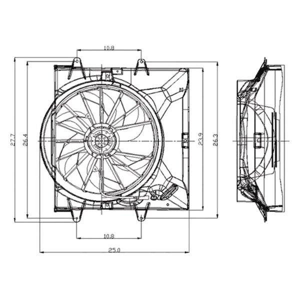 Tyc 621130 Dual Radiator And Condenser Fan
