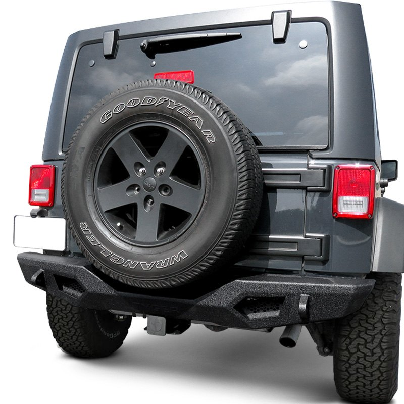 Tyger Auto TG-BP9J80098 Rear Bumper with D-Ring Mounts Textured Black Compatible with 2007-2018 Jeep Wrangler JK Exclude JL