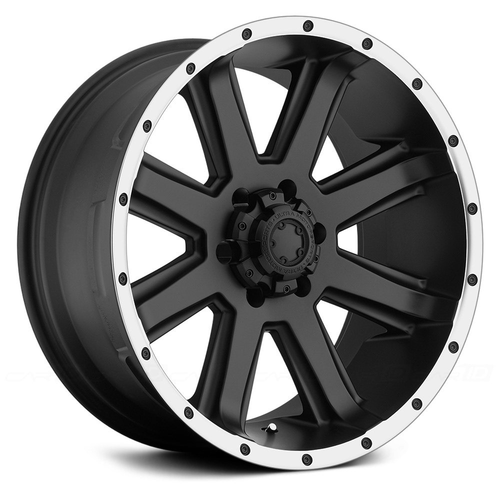 Ultra 174 195 Crusher Wheels Black With Diamond Cut Lip Rims