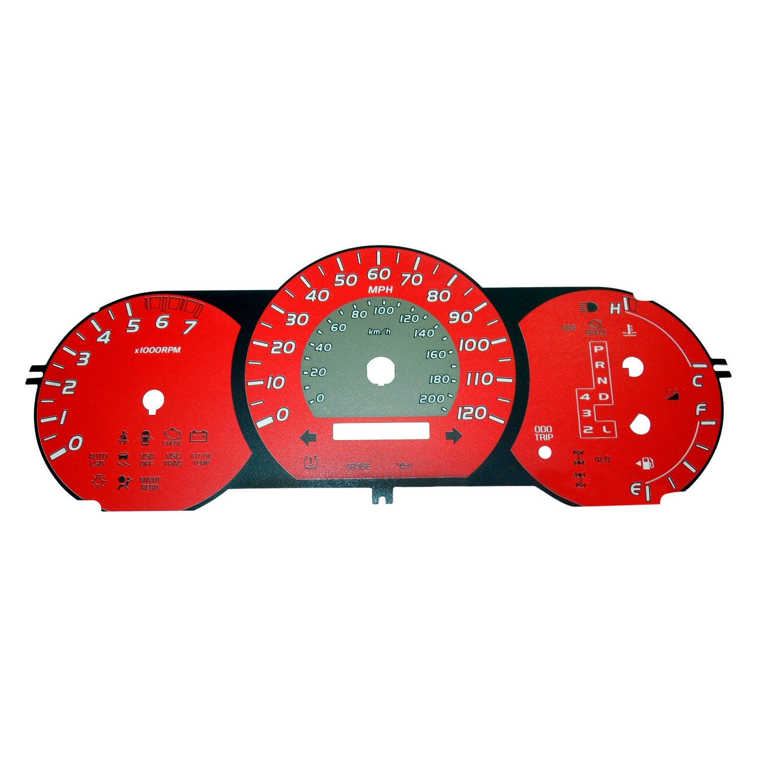 US Speedo® - Daytona Edition Gauge Face Kit with Amber Night Lettering  Color, Red