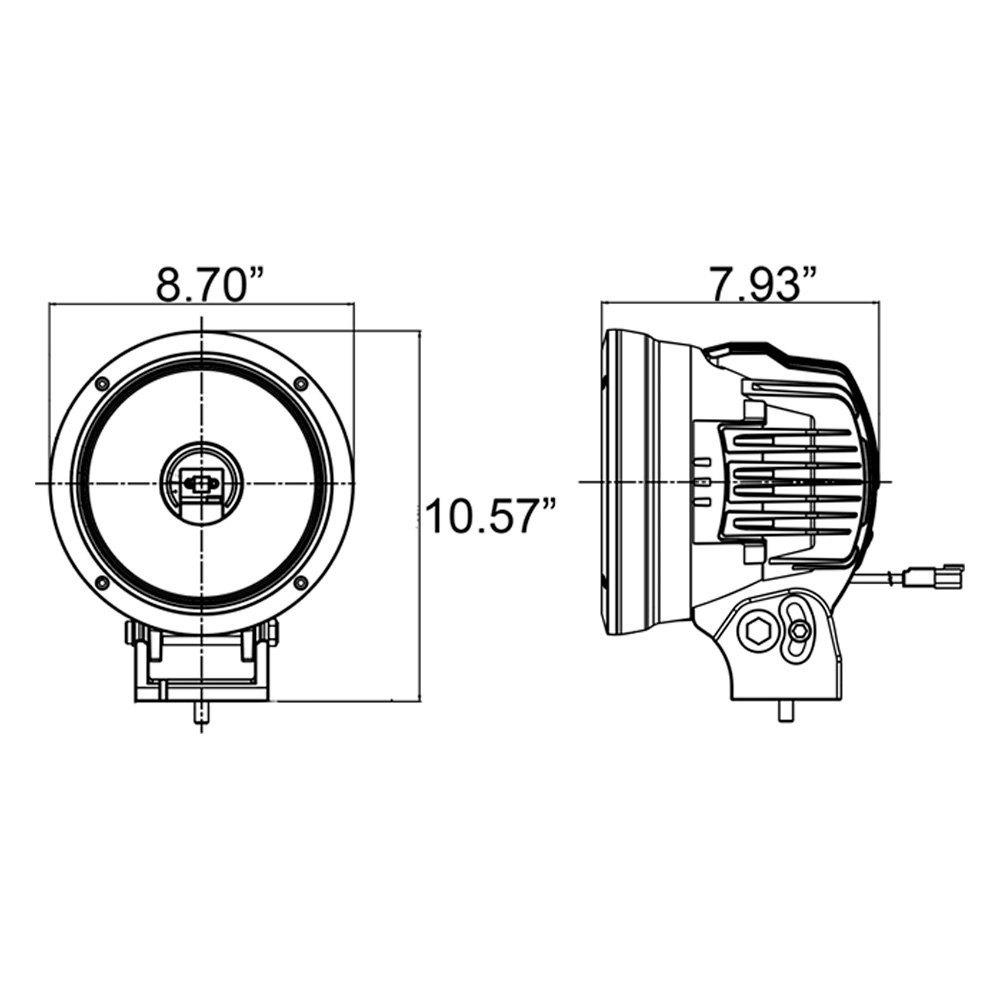 "... SchemeVision X® - Cannon 8.7"" 90W Round Narrow Beam LED Light, Light  Beam"