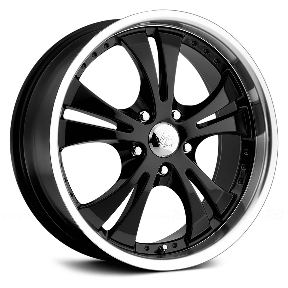 Vision 174 Shockwave Wheels Gloss Black With Machined Lip Rims