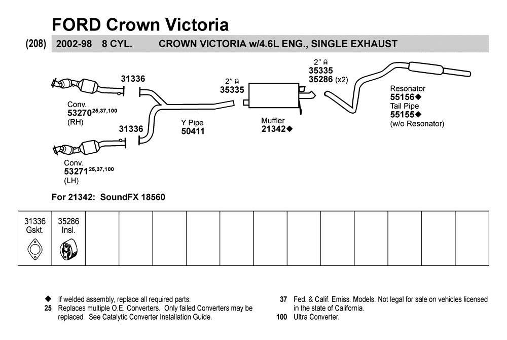 2001 Ford Crown Victoria Exhaust System