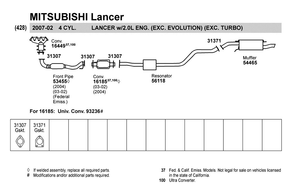 2004 Mitsubishi Lancer Exhaust Schematic | Auto Parts Diagrams