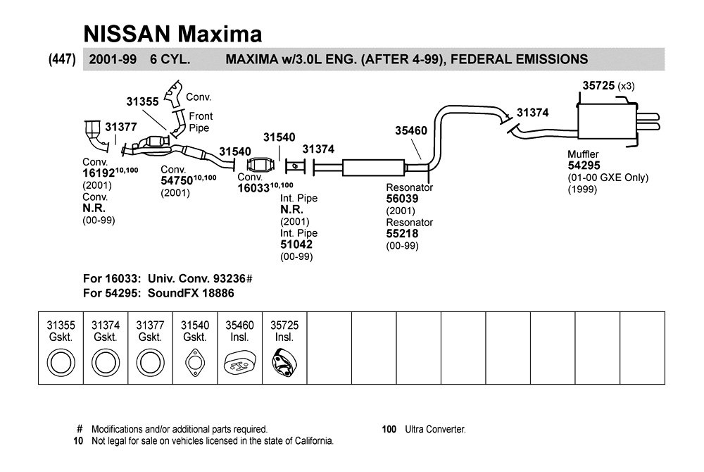 2001 Nissan Maxima Exhaust System Diagram