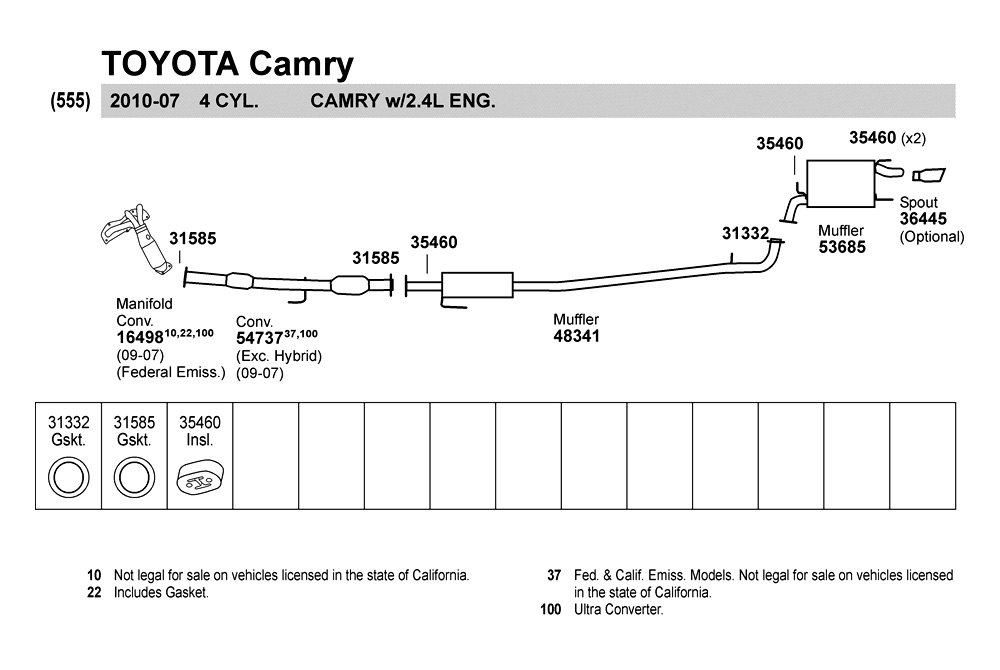Walker 174 48341 Toyota Camry 2007 2009 Resonator Assembly