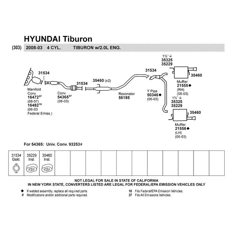 walker 50346 hyundai tiburon 2003 2006 y pipe. Black Bedroom Furniture Sets. Home Design Ideas