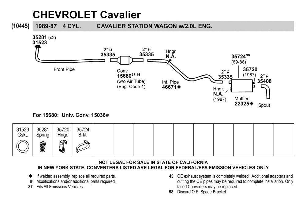 walker 31523 chevy cavalier 1989 gasket. Black Bedroom Furniture Sets. Home Design Ideas