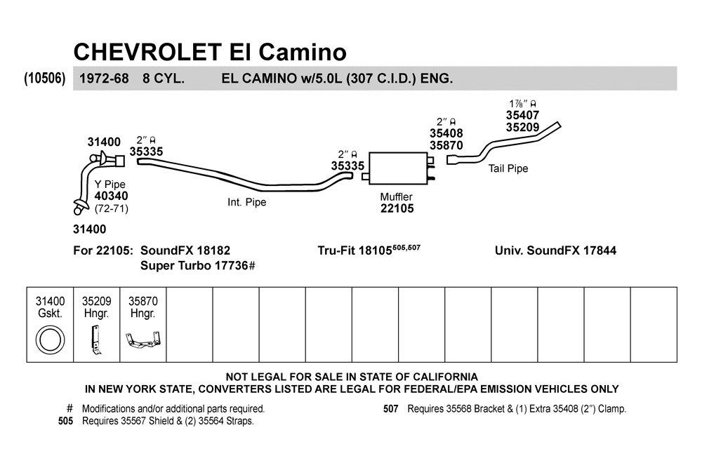 Walker® 35870  Chevy El Camino 1969 Hang