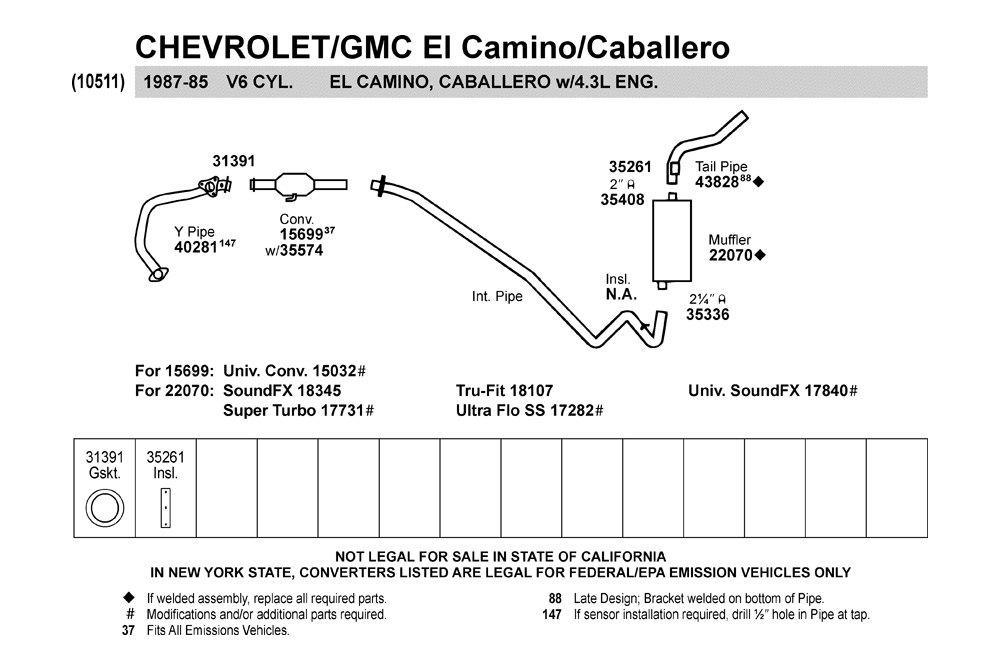 Walker 31391 Chevy El Camino 1985 1987 Gasket