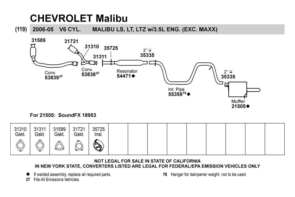 28 2005 Chevy Impala Exhaust System Diagram