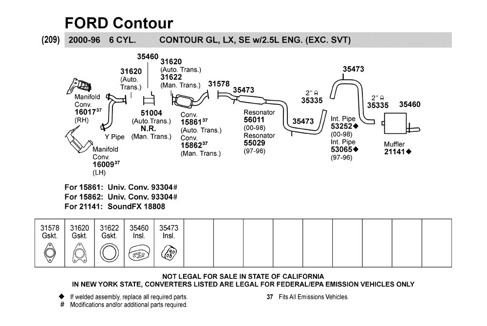 1998 Ford Contour Exhaust System