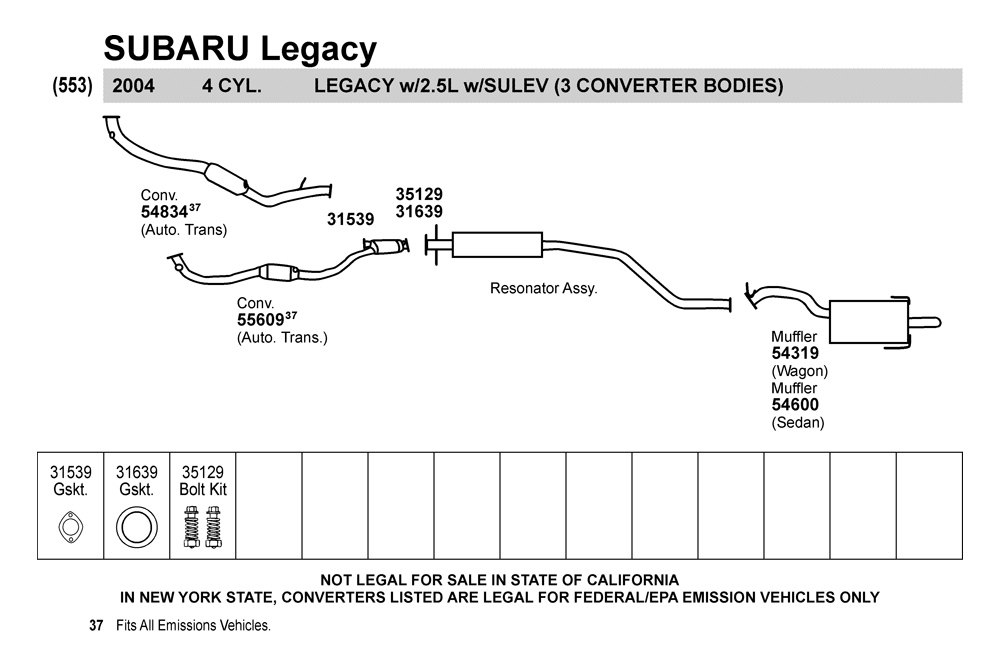 Walker® 54600 - Subaru Legacy 2004 Quiet-Flow™ SS Muffler ...