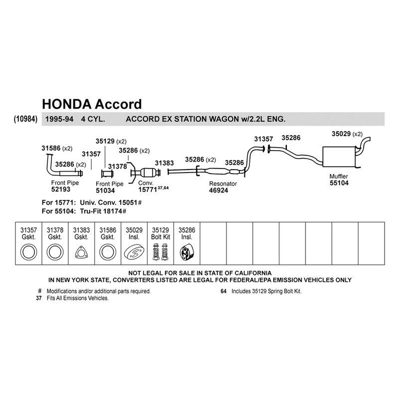 Walker Honda Accord 1994 Replacement Exhaust Kit