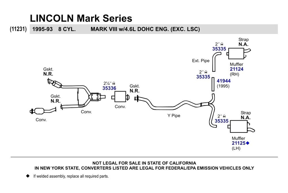 Walker lincoln mark viii 1993 replacement exhaust kit - Lincoln mark viii interior parts ...