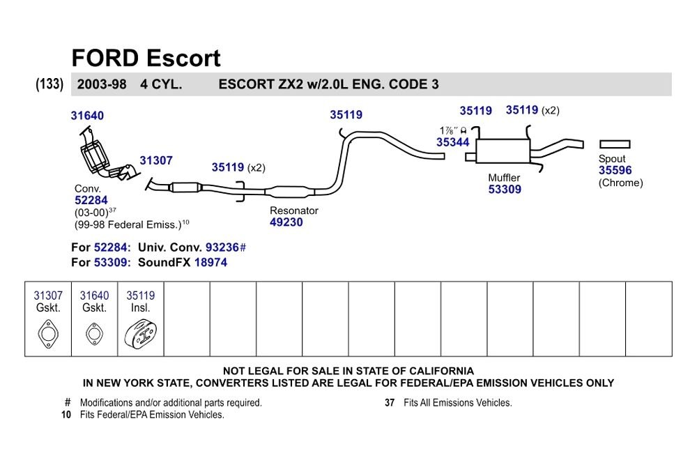 Ford escort catalitic convertidor
