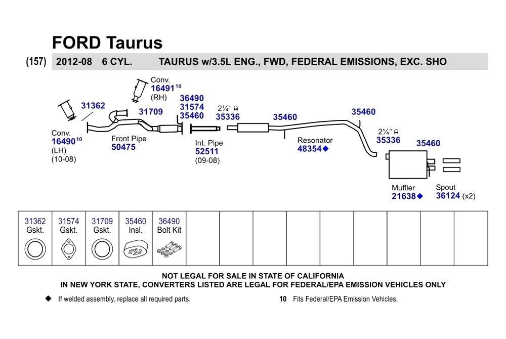 Ford Taurus Reviews >> Walker® - Ford Taurus 2011-2012 Exhaust Gasket