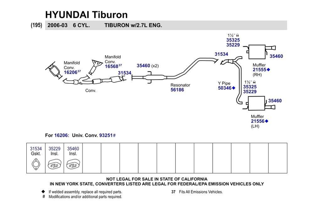 Walker Hyundai Tiburon 2003 2004 Replacement Exhaust Kit