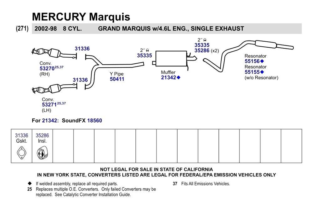 Catalytic Converter Prices >> Walker® - Mercury Grand Marquis 2002 Replacement Exhaust Kit