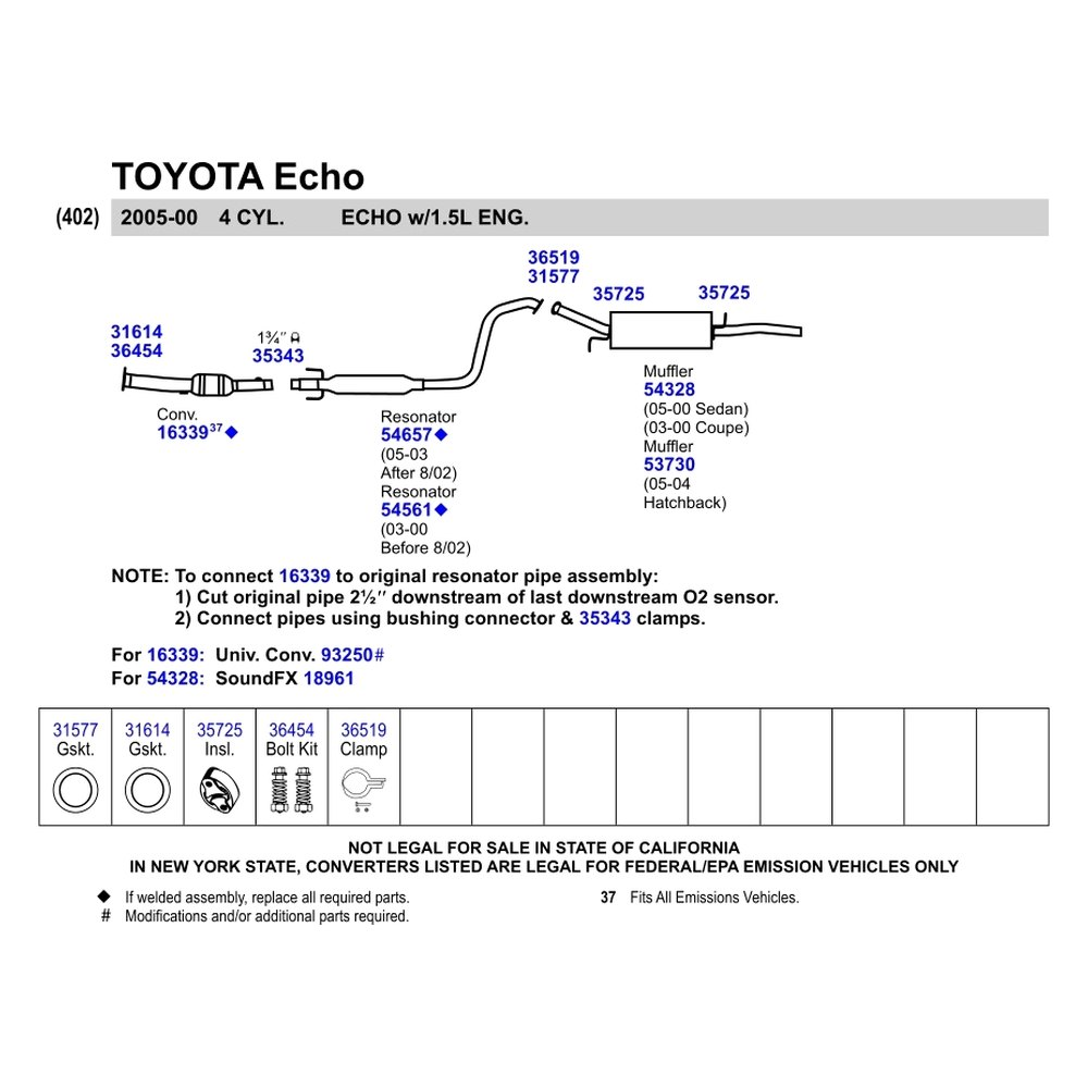 Catalytic Converter Prices >> Walker® - Toyota Echo 2000 Replacement Exhaust Kit