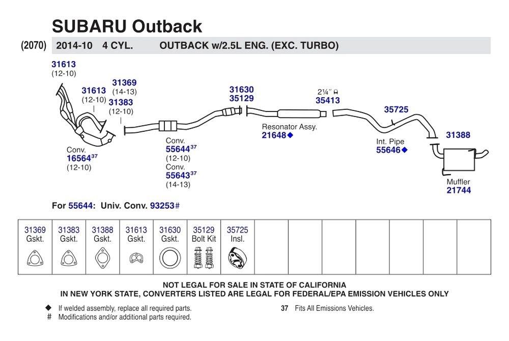 Walker Subaru Outback 2010 2014 Stainless Steel Resonator Assembly