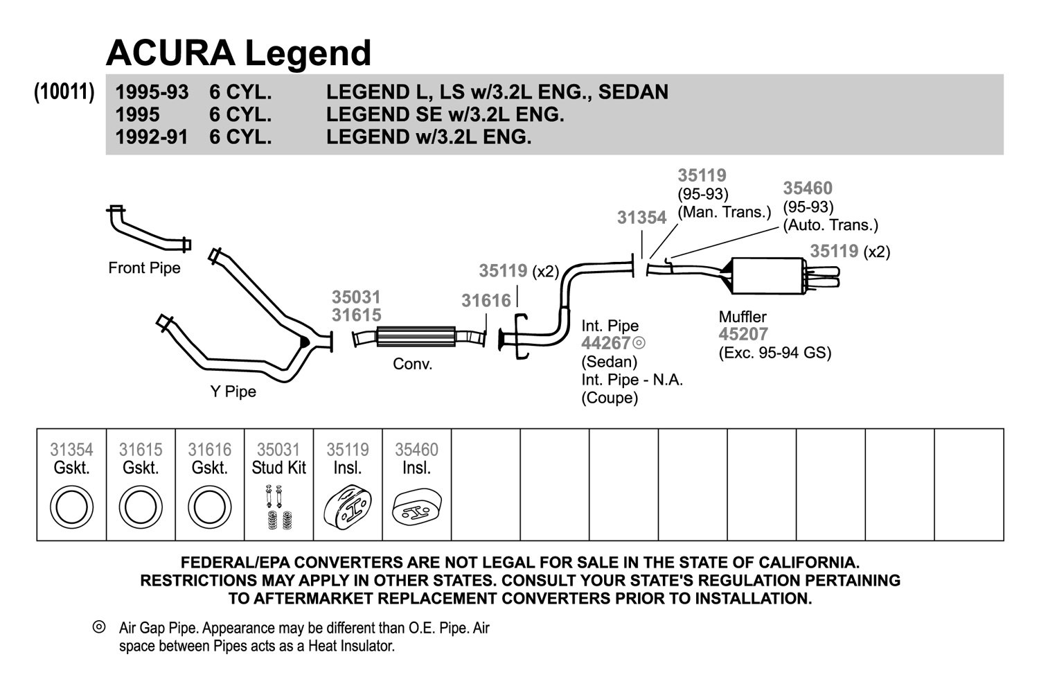 For Acura Rl 96 04 Exhaust Muffler And Pipe Assembly Quiet Flow 91 Legend Engine Diagram Aluminized Steel