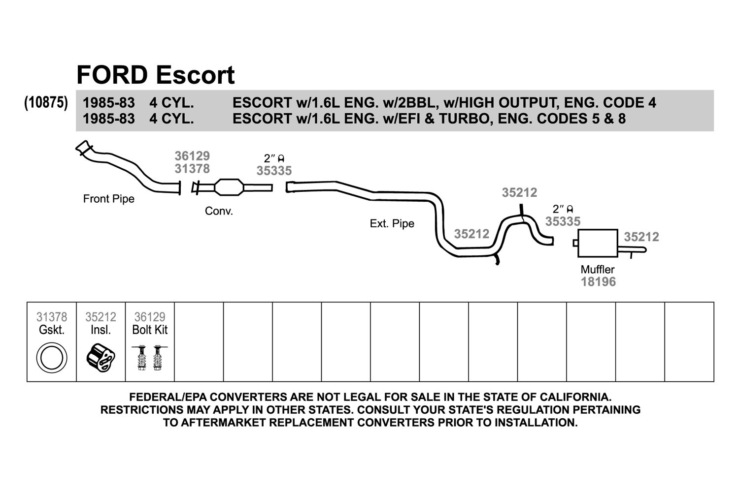 ... Replacement Exhaust Kit ...