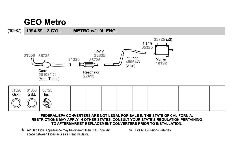 1991 geo metro engine accessories diagram walker   geo metro 1991 replacement exhaust kit  geo metro 1991 replacement exhaust kit