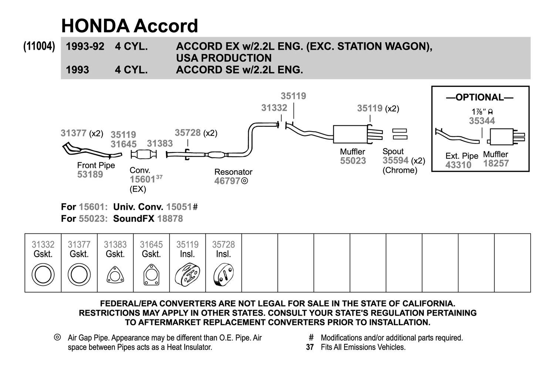 walker® honda accord 1992 replacement exhaust kit 99 honda accord engine diagram replacement exhaust kit