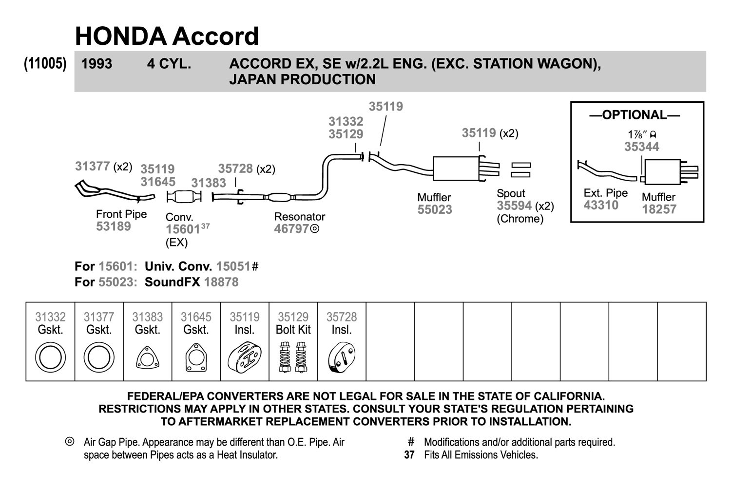 1995 honda accord wagon exhaust diagram automotive block diagram \u2022 1998 honda accord fuel filter location walker 31383 perforated metal and fiber laminate 3 bolt exhaust rh carid com 1989 honda accord wagon 1995 honda accord lx