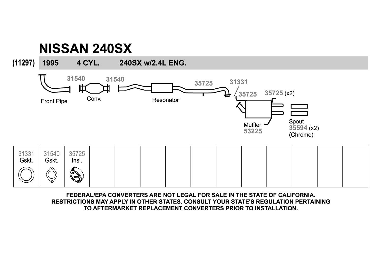 Walker Nissan 240sx 1995 Exhaust Pipe Flange Gasket 2 4l Engine Diagram