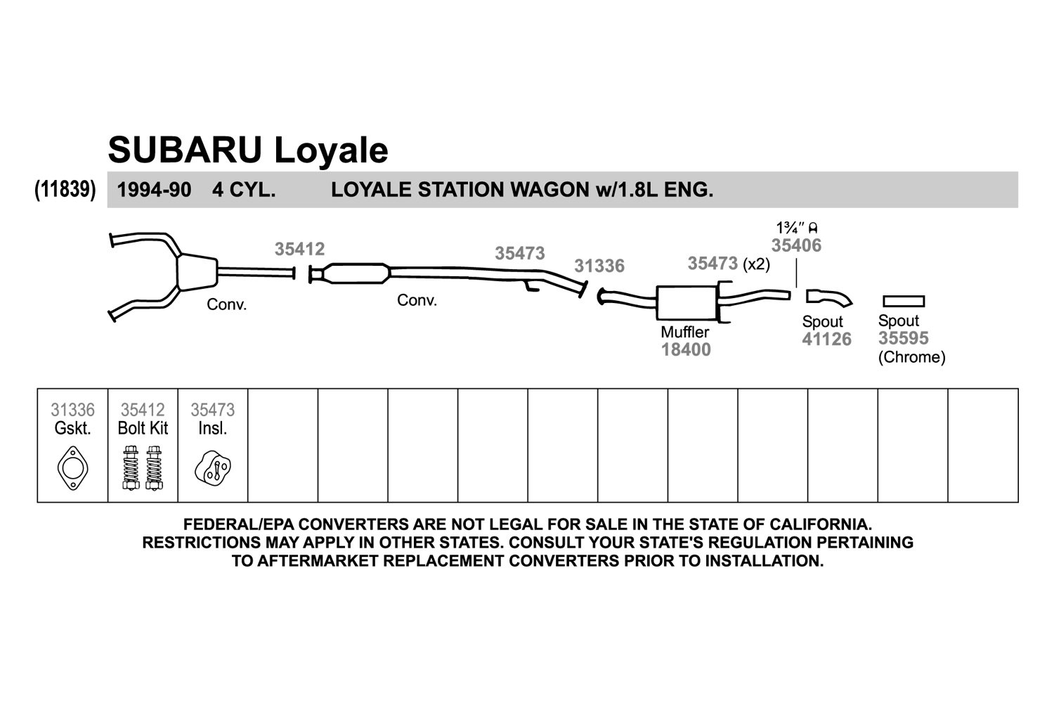Subaru Outback Exhaust System Parts Diagram Loyale 1500x1000