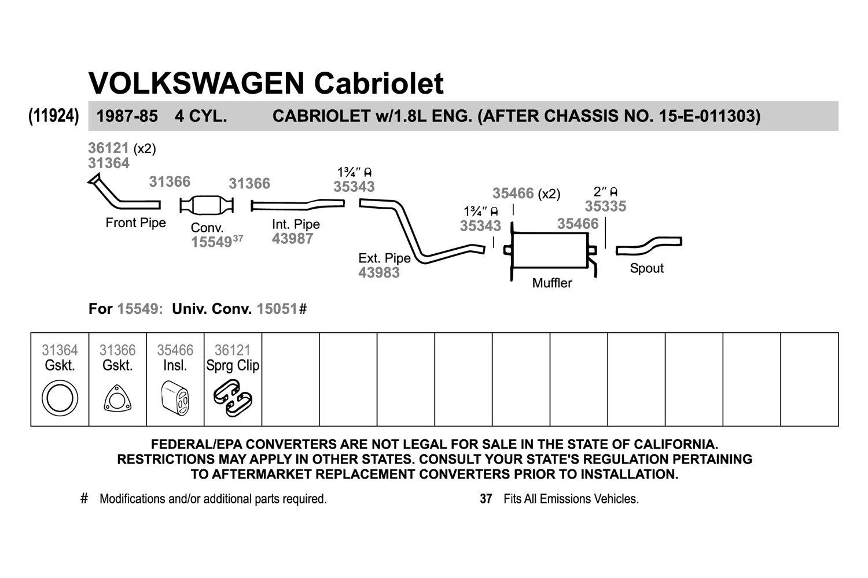 Exhaust & Emissions Exhaust & Emissions Walker 80830 CalCat Universal Catalytic Converter