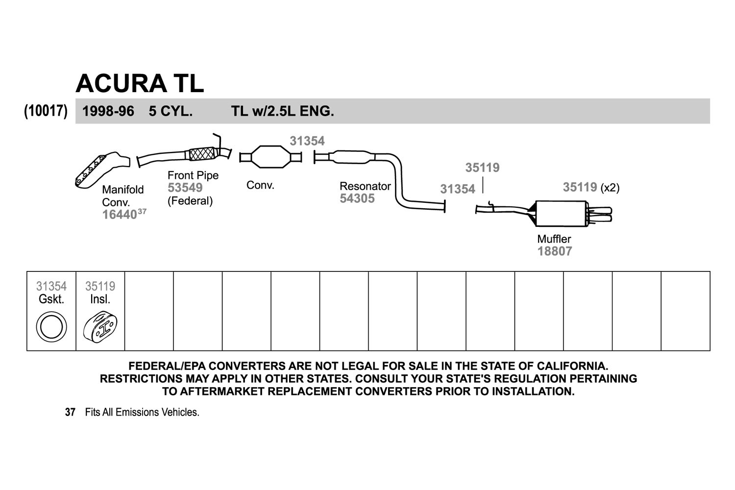 Cool Walker Acura Tl 1996 Fiber And Metal Laminate Exhaust Pipe Flange Wiring Database Wedabyuccorg