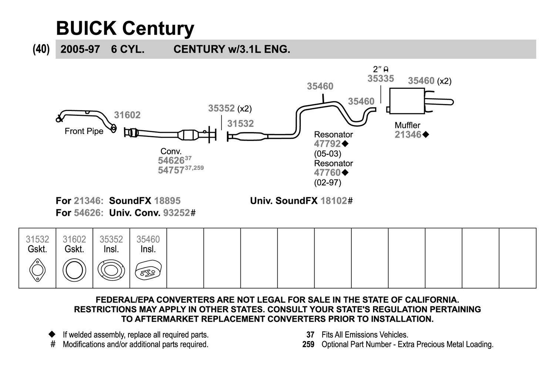 walker buick century 2002 replacement exhaust kit rh carid com buick enclave exhaust diagram buick enclave exhaust diagram