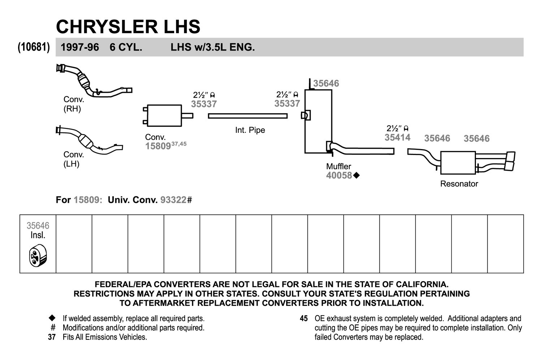 Walker 35646 Rubber Black Exhaust Insulator 3 5l 1997 Engine Diagram